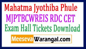Mahatma Jyothiba Phule RDC CET Exam Hall Tickets Download 2017