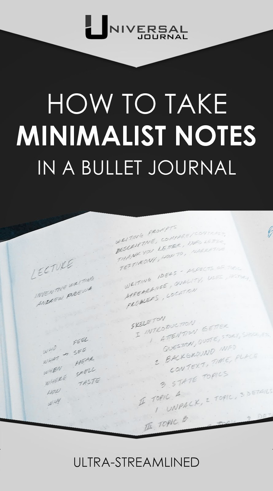 how to take minimalist notes in a bullet journal