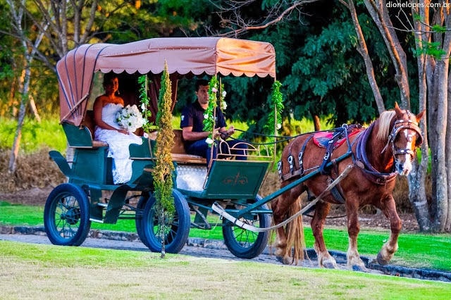 casamento ao ar livre - casamento de dia - entrada da noiva - noiva - casamento de princesa - charrete - carro da noiva - vale verde betim