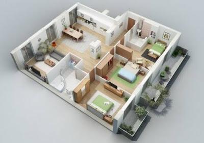 Model Denah Rumah Minimalis 1 Lantai Type 36