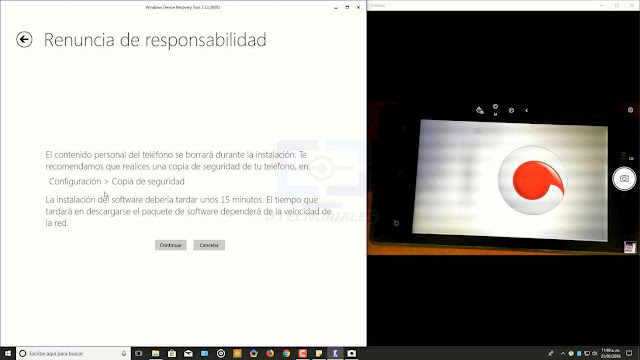 renuncia de responsabilidad windows device recovery tool