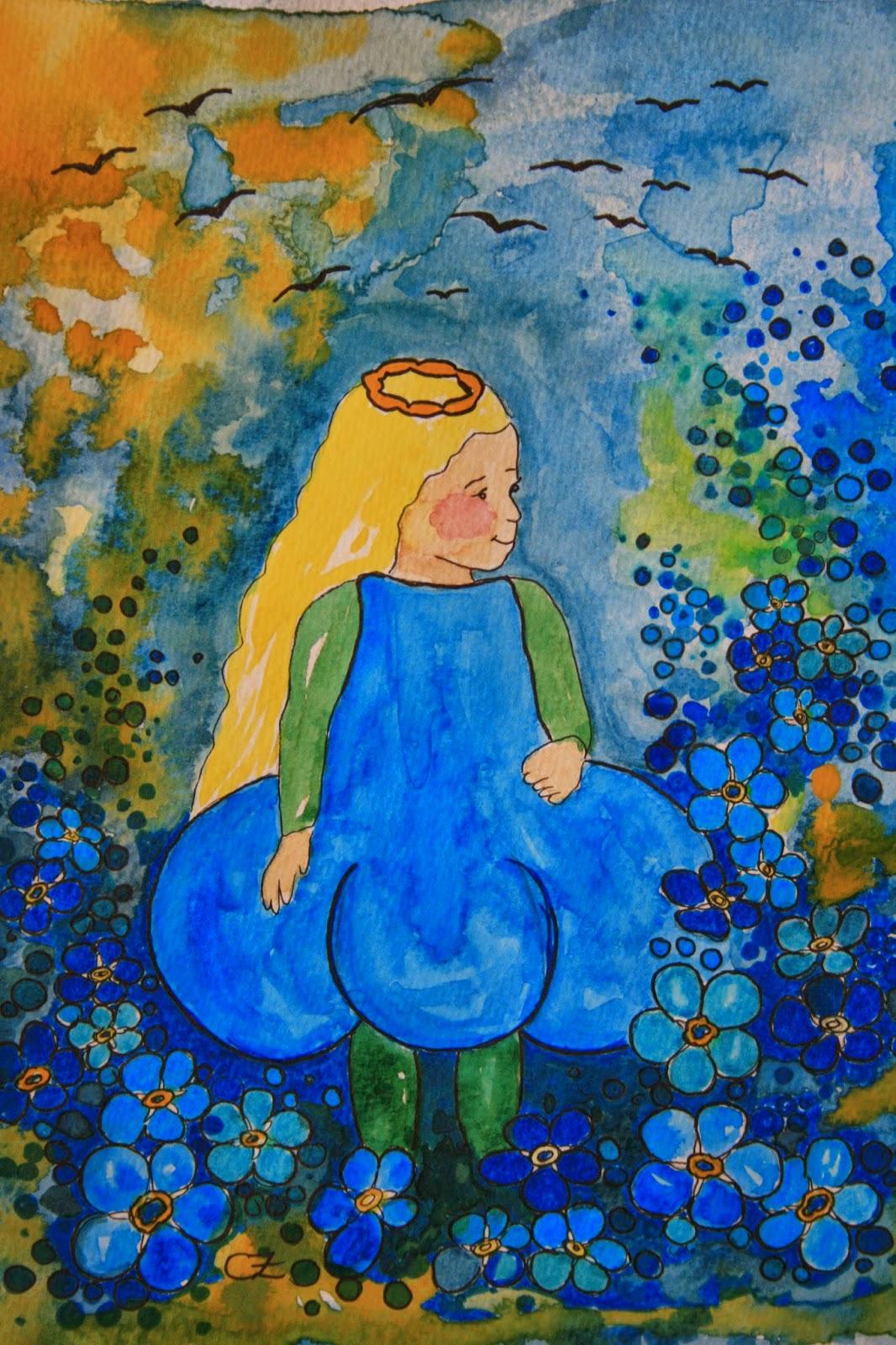 Förgätmigej akvarell carolin zander