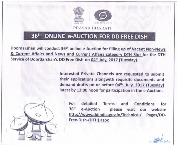 dd direct dth conducting 36th Online e-auction for Vacant DTH Slots of DTH