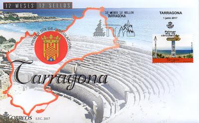 Sobre primer día Tarragona, 12 sellos, 12 meses, 12 provincias