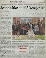 Jeanne Ampe gevierd als 105-jarige in het woon-zorgcentrum Polderzicht van Blankenberge