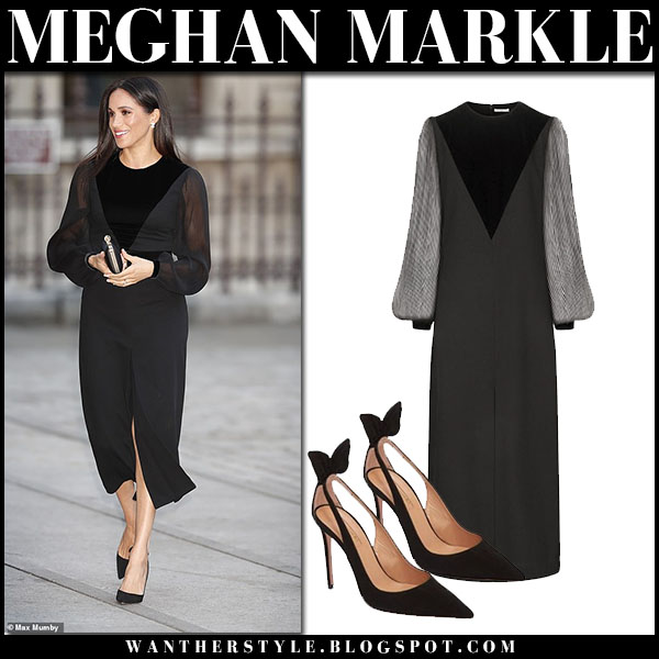 Meghan Markle in black midi dress with sheer sleeves givenchy royal family fashion september 25