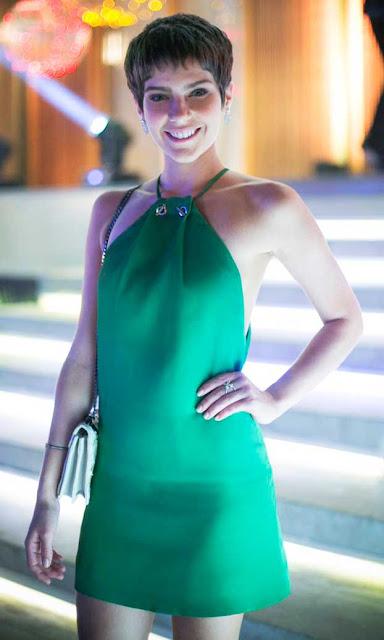 Leticia vestido verde festa, A lei do amor
