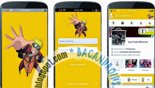 download Facebook Mod Tema Skin Naruto Yellow Apk