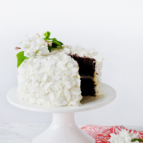 Chocolate Coconut Cake with Coconut Frosting