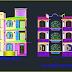 مخطط مشروع عمارة سكنية بطابقين 2 اوتوكاد dwg