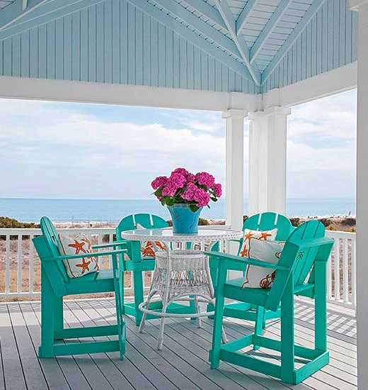 Blue Painted Porch Ceiling Coastal Home