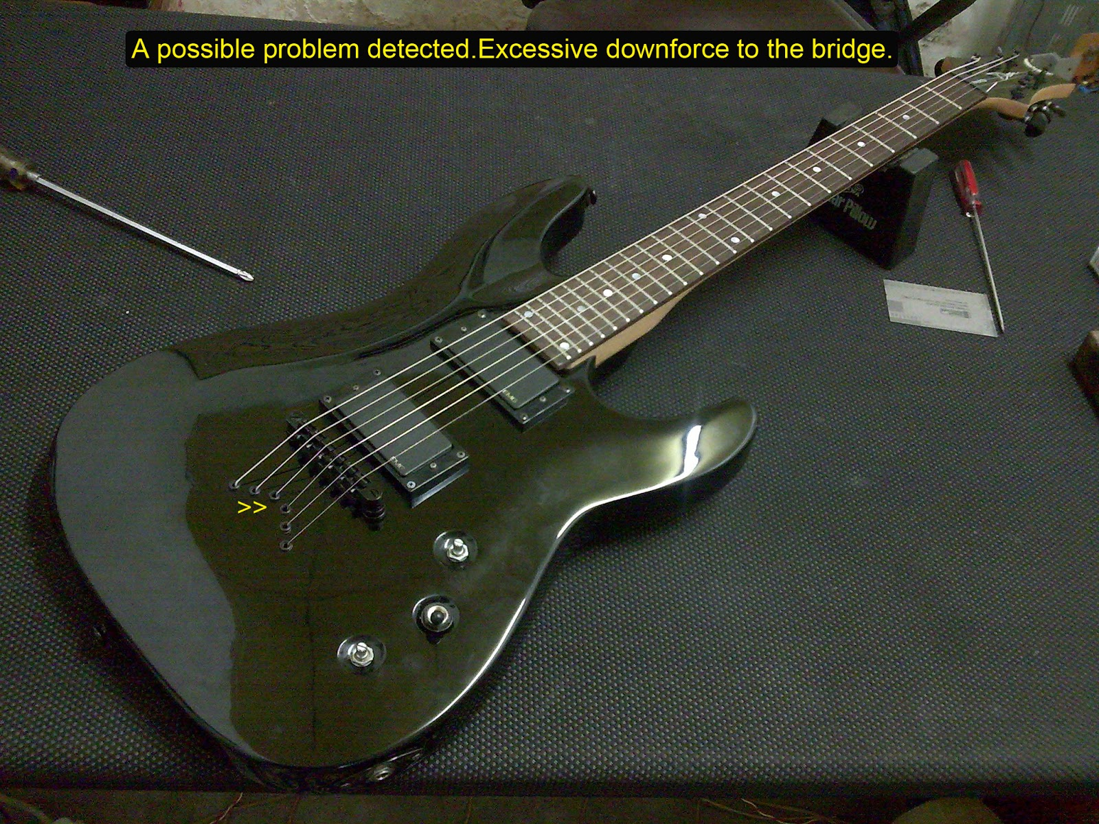 yustech gt guitars and basses solution a bridge too far guitar bridge and string ferules issues. Black Bedroom Furniture Sets. Home Design Ideas
