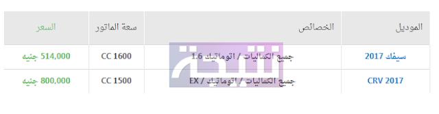 أسعار سيارات هوندا 2018 في مصر