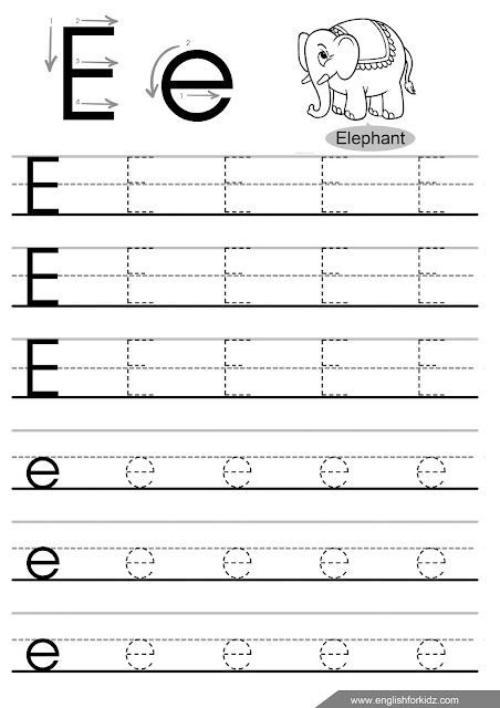 Letter e tracing page
