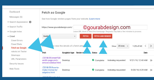 how to index website in google faster using fetch as tool