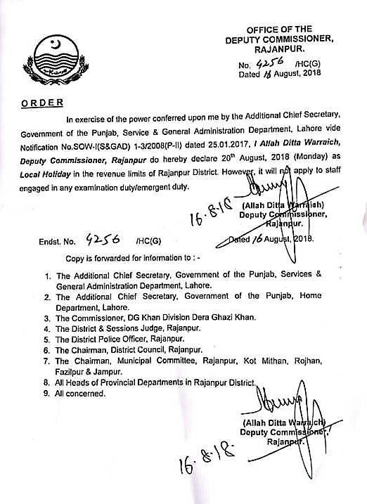 LOCAL HOLIDAY IN RAJANPUR DISTRICT ON 20.08.2018