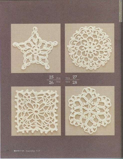 motivos de crochê estrela, redondo, flor e quadrado com gráfico