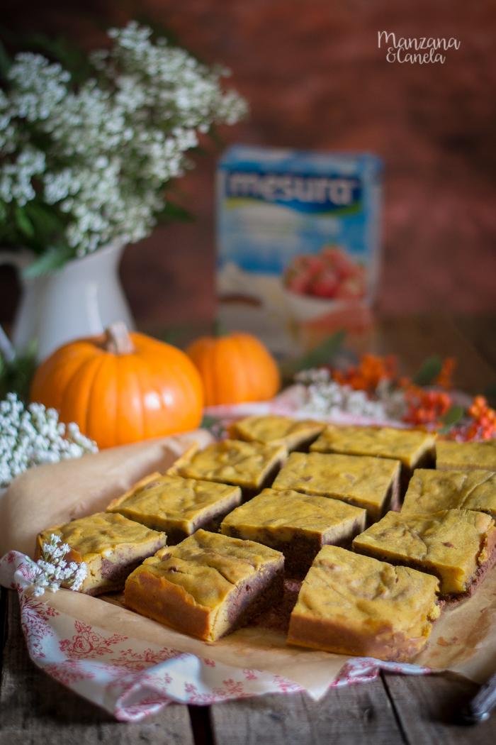 Brownie de calabaza y chocolate. Receta con Mesura, sin azúcar refinado.