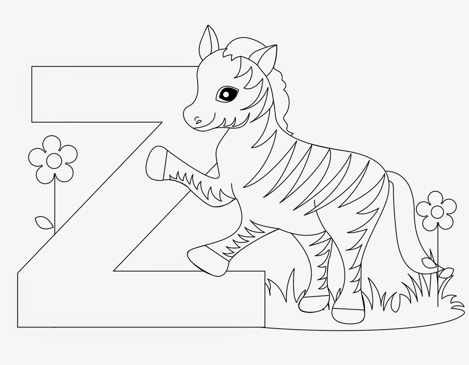 animal abc coloring pages | Kids Page: Z is for Zebra - Animal Alphabet Letters Worksheet