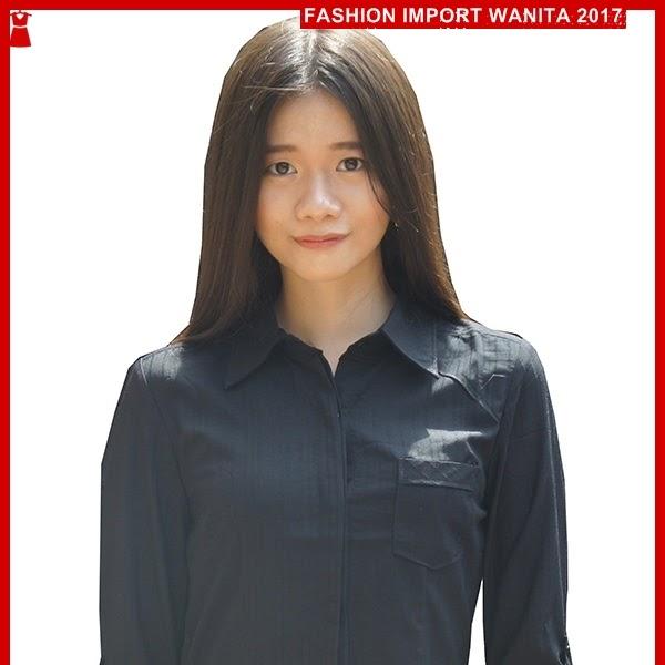 ADR023 Kemeja Wanita Hitam Salur Import BMGShop