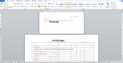 Cara Membuat Bentuk Portrait dan Landscape Dalam Satu File Word 2010