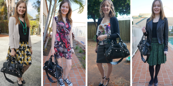 4 ways to wear Balenciaga part time bag with prints casual and corporate outfits | away from the blue