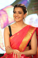 Kajal Aggarwal in Red Saree Sleeveless Black Blouse Choli at Santosham awards 2017 curtain raiser press meet 02.08.2017 041.JPG