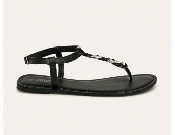 Answear - Sandale de piele cu talpa joasa de femei negre