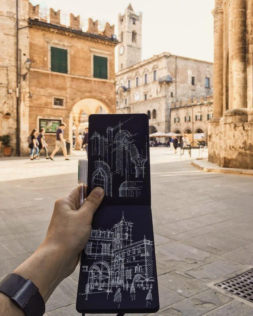 07-Piazza-del-Popolo-GF-Cangelosi-Italian-Historical-Architectural-Drawings