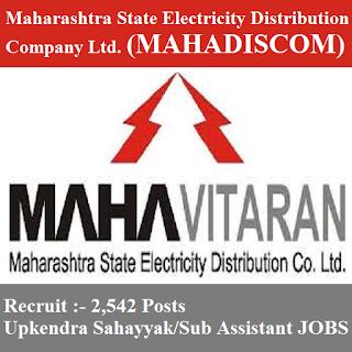 Maharashtra State Electricity Distribution Company Limited, MAHADISCOM, Maharashtra, 12th, Upkendra Sahayyak, Sub Assistant, freejobalert, Sarkari Naukri, Latest Jobs, Hot Jobs, mahadiscom logo
