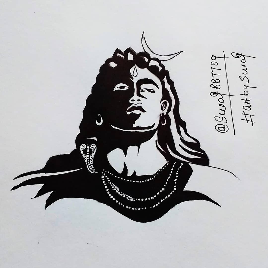 Mahadev sketchmahadev paintingsketch of mahadevbholenath sketchlord shiva painting