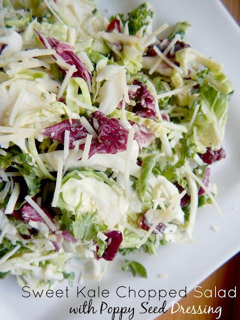 sweet kale chopped salad with poppy seed dressing (sweetandsavoryfood.com)