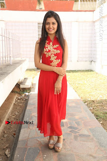 Telugu Actress Priyanka Jain Stills in Red Dress at Amazing Arts Production no 1 Movie Opening  0037.JPG