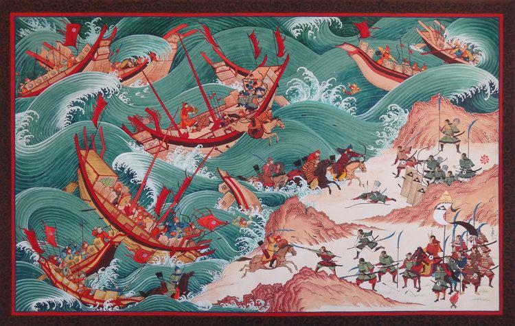 The defending Japanese warriors (samurai) were far less numerous