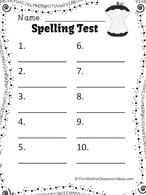 free printable spelling test template - kindergarten spelling test sheet free spelling worksheet