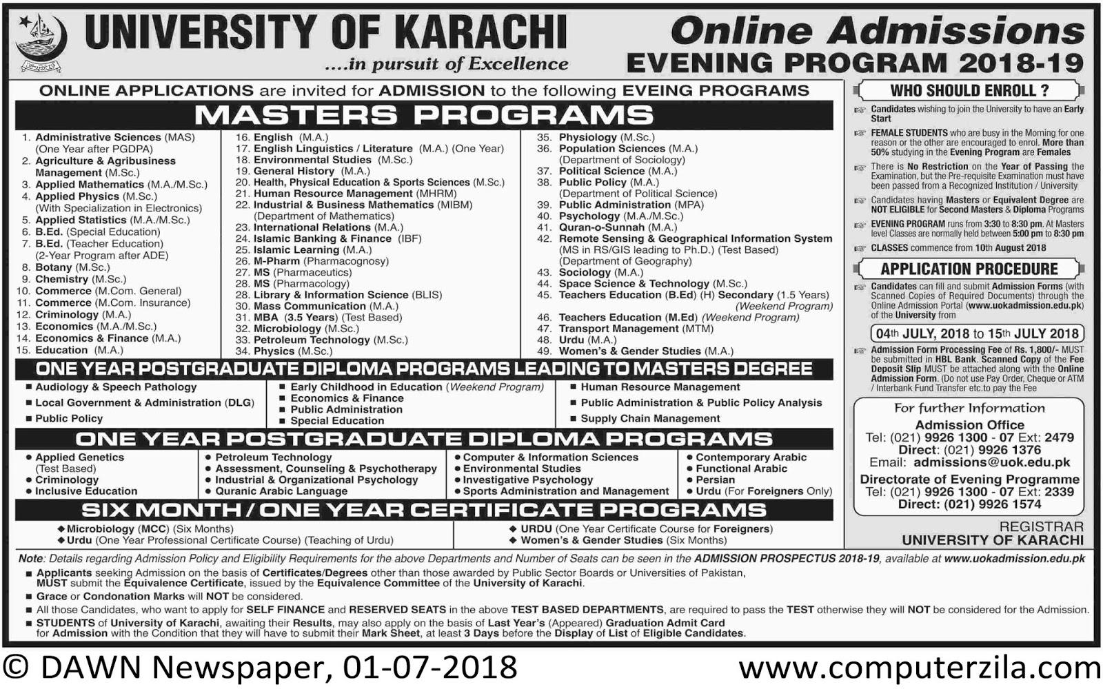 University of Karachi Admissions Fall 2018