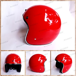 Helm Retro Classic Half face Red Glossy