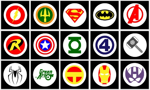 Superheroes: Free Printable  Stickers, Toppers or Labels.