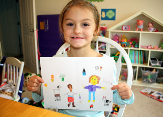 Tessa drew a picture of how Beatrice's life differs from her own. It included items that symbolize the differences in the food they eat, how their houses are built, education and chores, among other things.