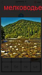Небольшое количество воды и разбросаны повсюду камни на мелководье