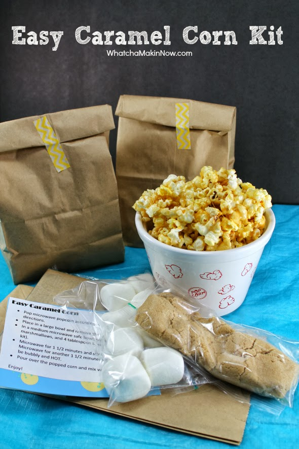 DIY Gift: Easy Caramel Corn Kit -- perfect take home gift after movie night, football party, or even for Halloween treats! So easy and affordable to put together too!
