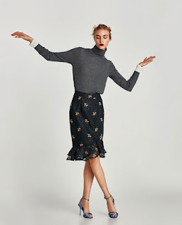 Zara Black Floral Lace Skirt