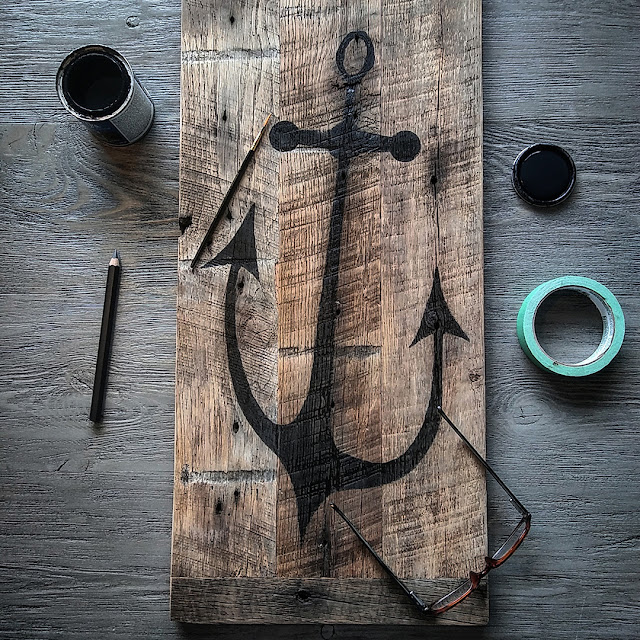 anchor painting on reclaimed wood