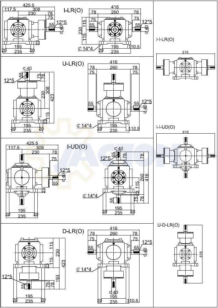 JT15 spiral bevel gearbox is quivalent to Taiwan HUANG YIH HLG-2M