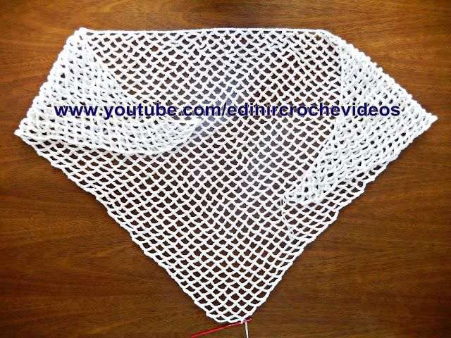 crochê para canhotos left handed crochet xale ou gola de croche aprender croche Edinir-Croche