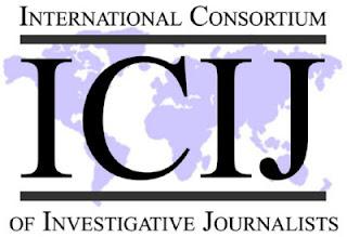 Το λογότυπο της ICIJ (International Consortium of Investigative Journalists – Διεθνής Σύμπραξη Ερευνητών Δημοσιογράφων)