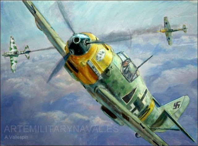 Pintura al óleo de avión Bf-109 pertenecioente a Angel Salqas Larrazabal división Azul Luftwaffe