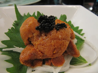 Uni Sashimi with Mountain Potato (Ngaimo) Strand and Caviar Atop a Shiso Leaf