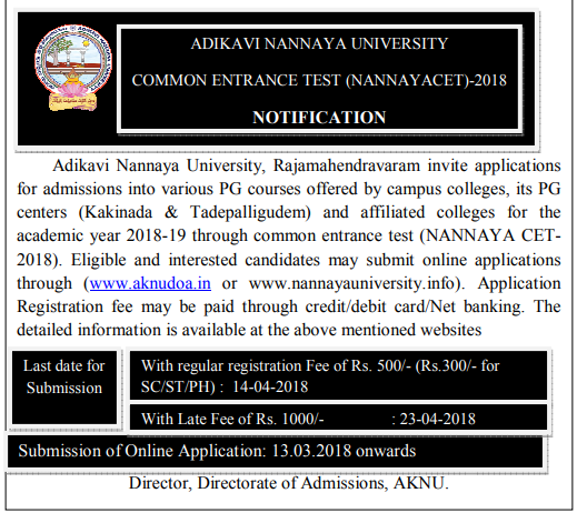 AKNUCET Nannayacet 2018-2019 online application form