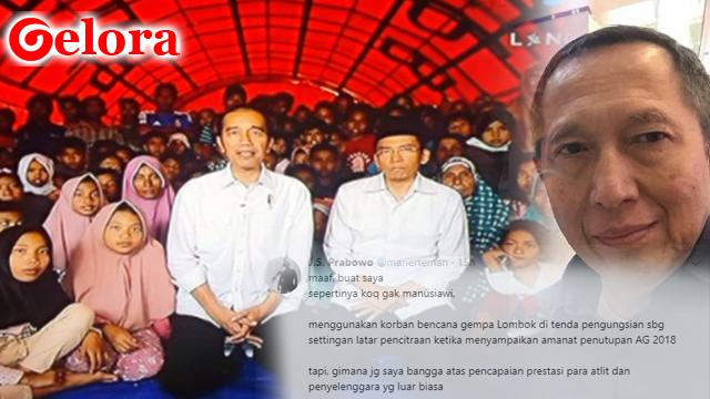 Suryo Prabowo Sindir Jokowi 'Pencitraan' Berlatar Korban Gempa: Kok Sepertinya Gak Manusiawi
